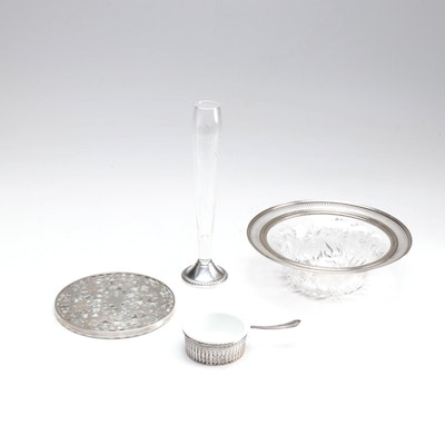 Webster Sterling Silver Trivet and Other Sterling and Crystal Table Accessories