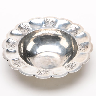 Mexican Hand-Wrought 900 Silver Bowl, 1940s