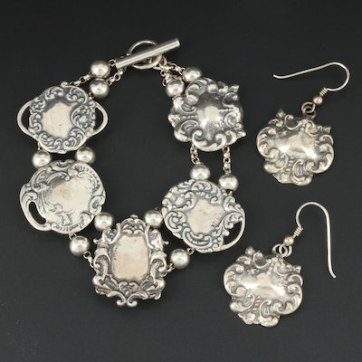 T Foree Sterling Silver Victorian Style Bracelet and Earrings