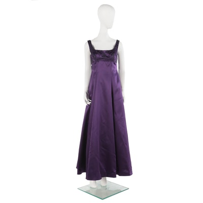 Stepping Out Deep Plum Sleeveless Evening Gown with Beaded Bodice