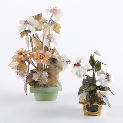 Chinese Cut Glass Flowering Plants, Set of 2