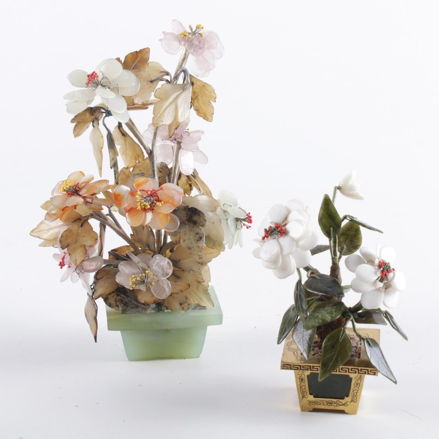 Chinese Carved Floral Arrangements Including Nephrite, Jade, Quartz and Agate