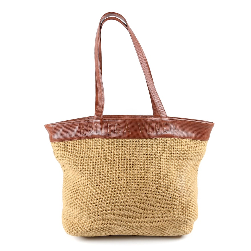 Bottega Veneta Woven Jute Tote with Lizard Embossed Leather Trim