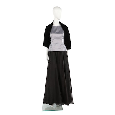 Evening Ensemble Including Jessica McClintock Gunne Sax Black Velvet Wrap