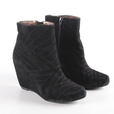 Chocolat Blu Dahlia Stitched Black Suede Wedge Booties