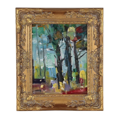 "Jose Trujillo Oil Painting ""Through the Trees"""
