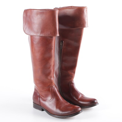 Frye Leather Melissa Foldover Boots in Saddle Brown