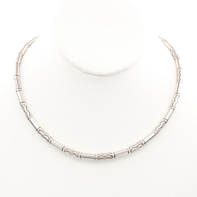 """Tiffany & Co. """"Zig Zag"""" Sterling Silver Bead Necklace"""