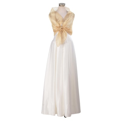 Sleeveless Evening Gown with Mary McFadden Marii Pleated Metallic Gold Wrap