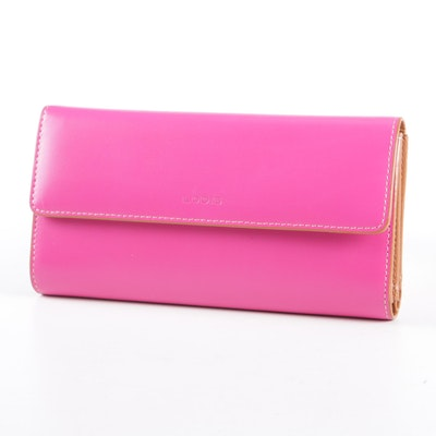 Lodis Pink Leather Trifold Wallet