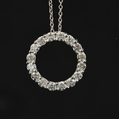14K White Gold 1.02 CTW Diamond Necklace