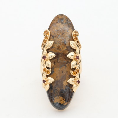 14K Yellow Gold Bronzite, Garnet and Citrine Ring