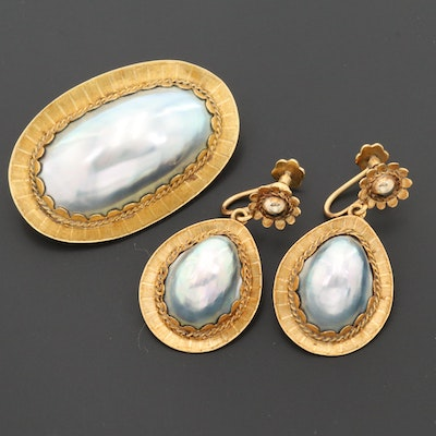 Vintage 18K Yellow Gold Cultured Pearl Brooch and Earrings Set