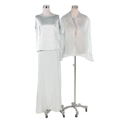 The Garment District Pale Blue Silk and Chiffon Three-Piece Evening Ensemble