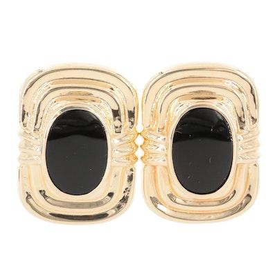 14K Yellow Gold Black Onyx Earrings