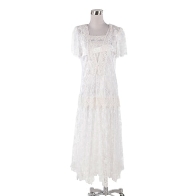 Scott McClintock White Lace Drop Waist Dress, Vintage