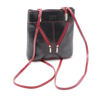 Pelle Italian Black Leather Backpack Purse with Red Leather Trim