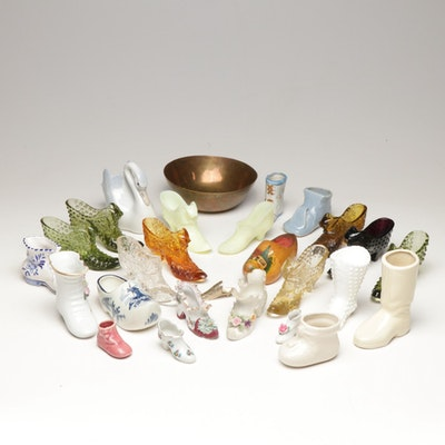 McCoy, Imperial, Lefton and Other Porcelain and Glass Shoe Vases and Planters