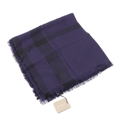 Burberry Mega Check Merino Wool Fringed Scarf, Made in Italy