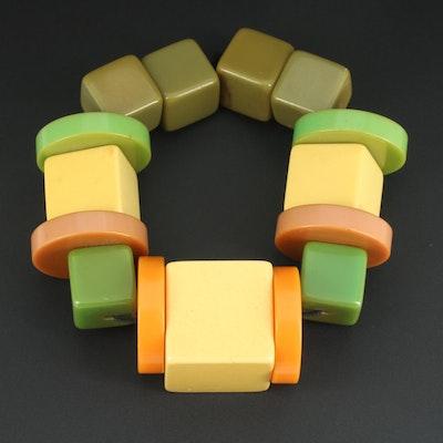 Bakelite Block and Disc Bead Expandable Bracelet