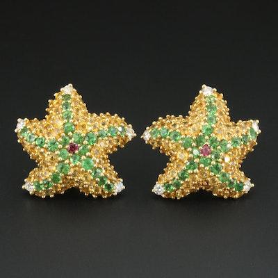 Jean Vitau 18K Starfish Earrings Including Diamond, Yellow Sapphire and Garnet