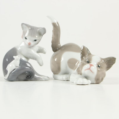 "Lladró ""Attentive Cat"" and ""Cat and Mouse"" Porcelain Figurines, 1980s"