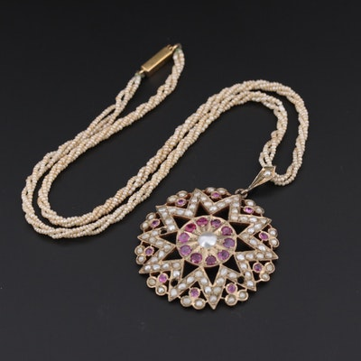 Antique 9K Cultured Pearl Necklace with Cultured Pearl & Ruby Pendant, India