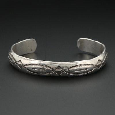 Early 20th Century Southwestern Sterling Bracelet Hammered From Ingot