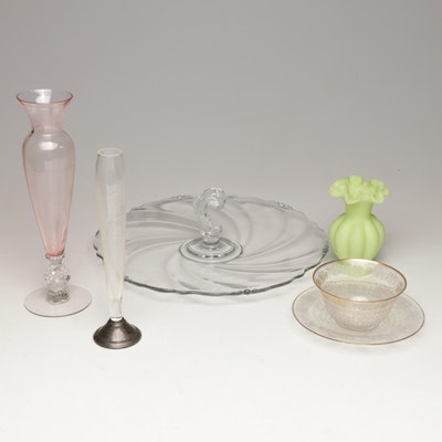 Collection of Vintage Glassware Featuring Fenton and Heisey