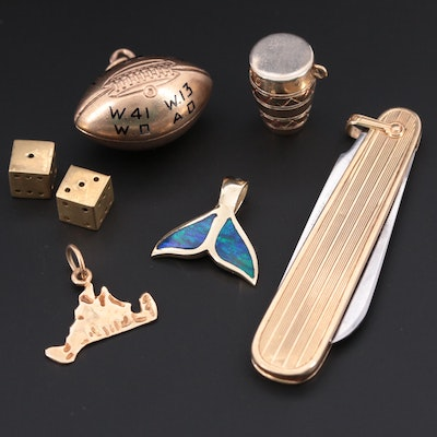 Variety of Yellow Gold Charms, Pendant & Pocket Knife