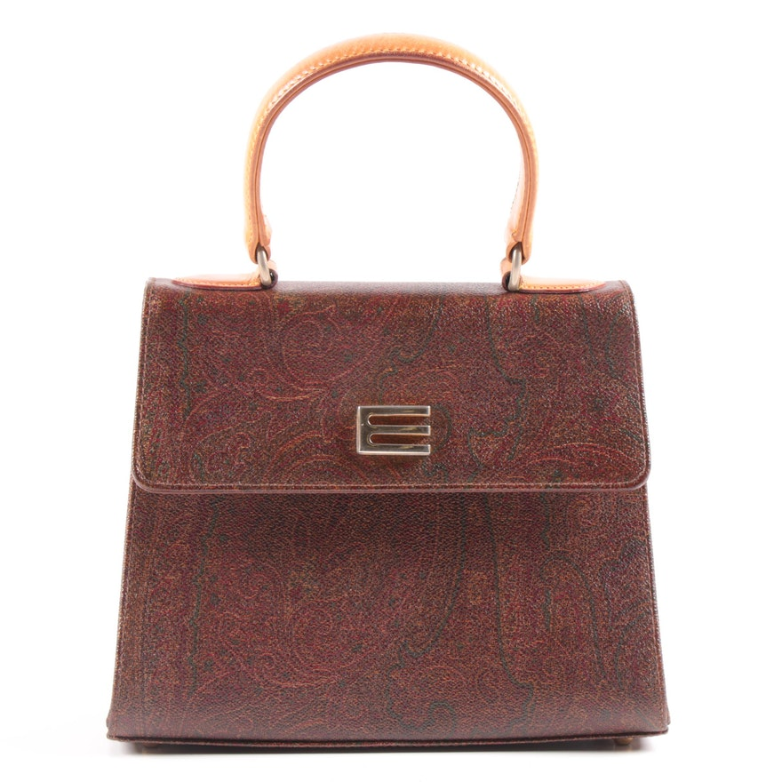Etro Milano Paisley Print Coated Canvas and Leather Top Handle Handbag