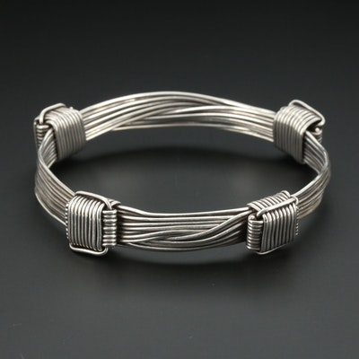 "Vintage Gucci Sterling ""Elephant Hair"" Adjustable Bracelet"