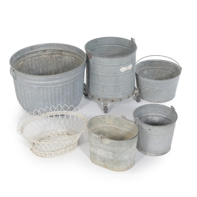 Galvanized Zinc Tub & Bucket Collection, Vintage