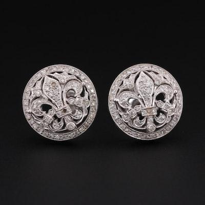 Antique 18K White Gold & Diamond Fleur-de-Lis Earrings