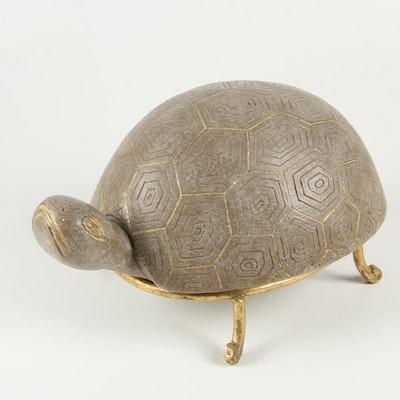 Modernist Style Gilt Ceramic Tortoise