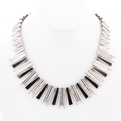 Mid-Century Modern Mexican Sterling Silver Obsidian Necklace