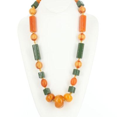 Bakelite Geometric Bead Necklace