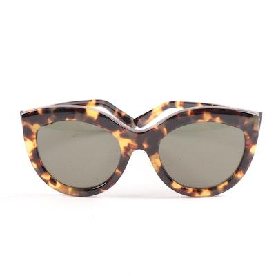 Balenciaga BA133 Modified Cat Eye Havana Sunglasses in Tortoiseshell with Case
