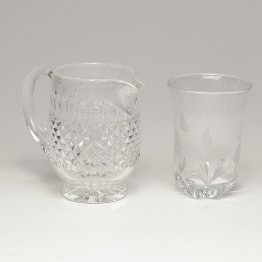 Waterford Crystal Pitcher and Scandinavian Art Glass Vase