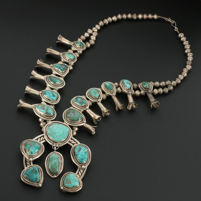 Antique Southwestern Sterling Silver Turquoise Squash Blossom Necklace