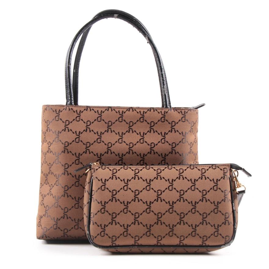 Roberta Di Camerino of Italy Monogram Jacquard and Leather Handbag and Wristlet