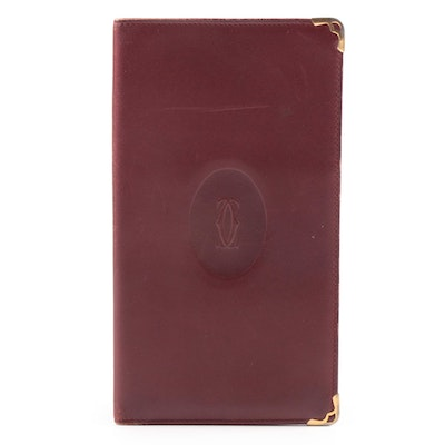 Cartier Paris Vertical Travel Wallet in Bordeaux Leather, Vintage