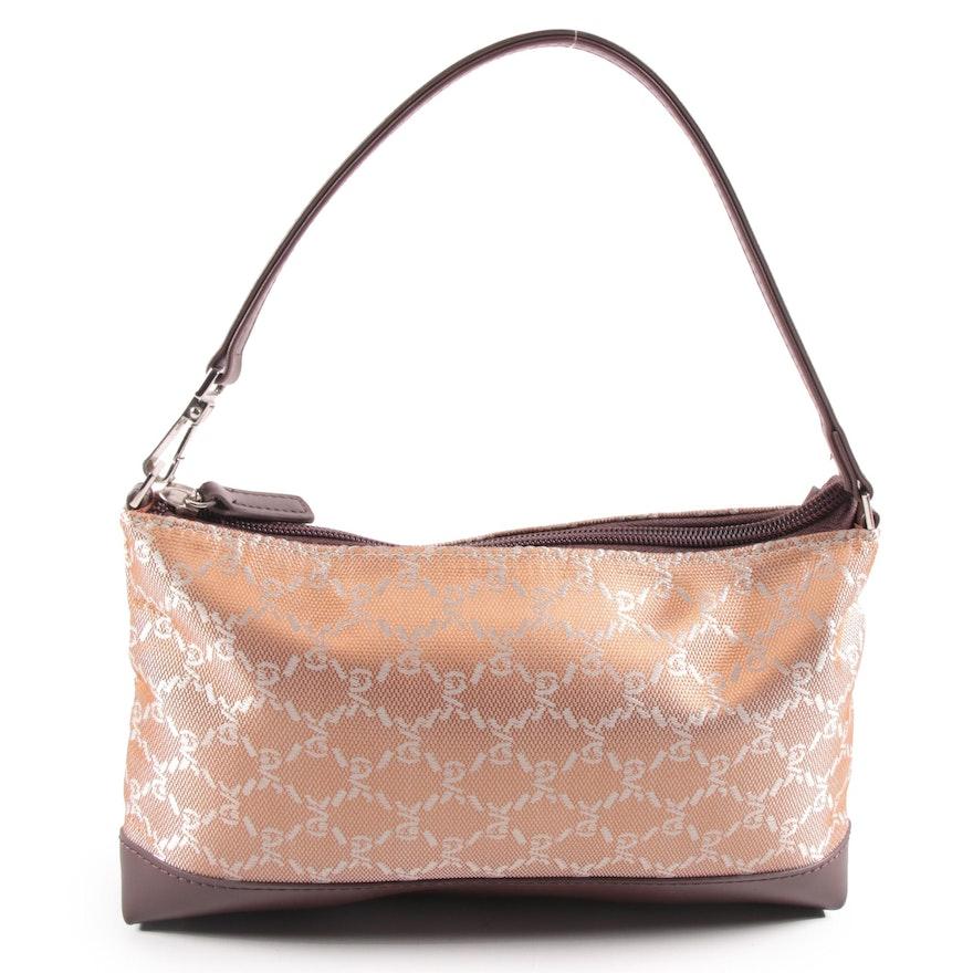 Roberta Di Camerino of Italy Monogram Jacquard and Brown Leather Demi Bag