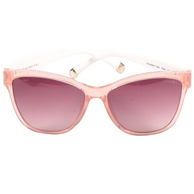 Chanel 5330 Sunglasses with Pink Rims, White Quilted Stems and Quilted Hard Case