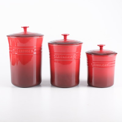 Le Creuset Red Enameled Stoneware Canisters