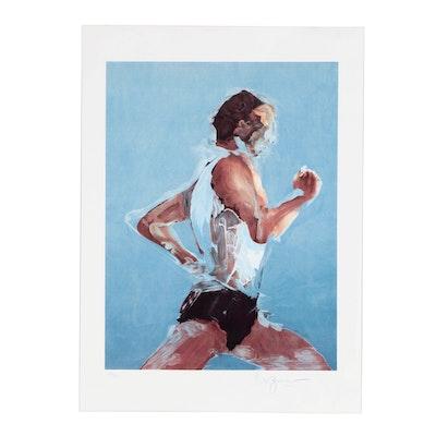 "Stephen Kuzma 1993 Lithograph ""Running"""