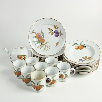 "Royal Worcester ""Evesham Gold"" Porcelain Dinnerware, Mid/Late 20th Century"