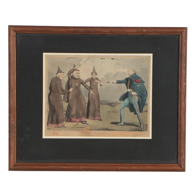"""Late 19th Century Hand-Colored Lithograph after John Doyle """"The Prophecy"""""""
