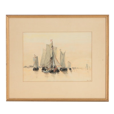 Early 20th Century Watercolor Painting of Sailboats