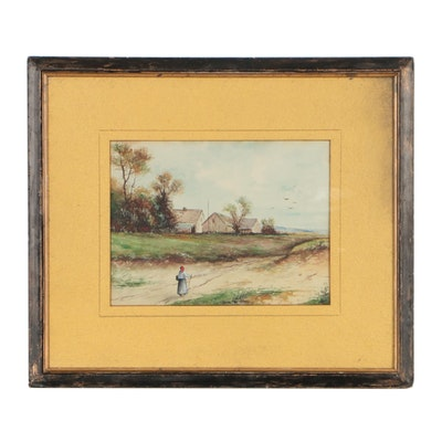Early 20th Century Watercolor Painting of Figural Pastoral Scene